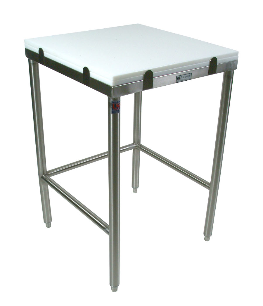 John Boos 1-12 inch poly top work table wtih stainless steel base and bracing