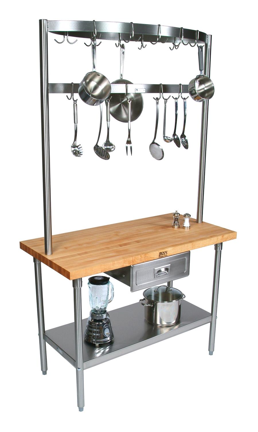 Boos Cucina Grandioso Prep Table, Optional Pot Rack