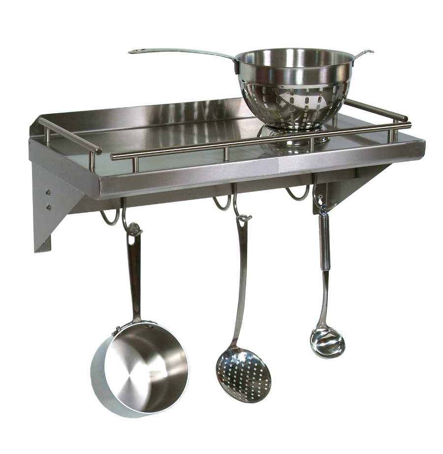 John Boos Mensola Grande Shelf with Pot Rack GRW-UB