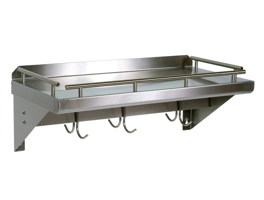 John Boos Shelf with Pot Rack Bar & Hooks Model GRWS