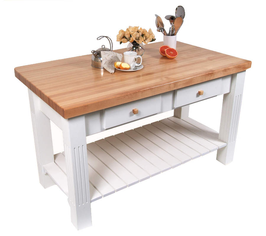 "butcher block kitchen island with 8"" drop leaf"