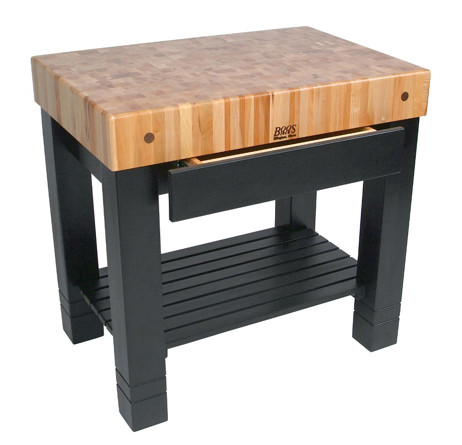 End Grain Butcher Block Table HMST-BK Black Base