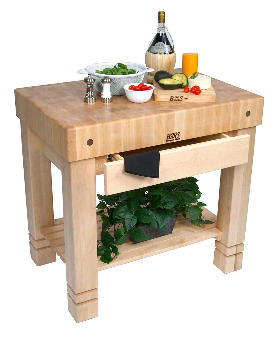 Maple Butcher Block Table w Natural Base HMST-N