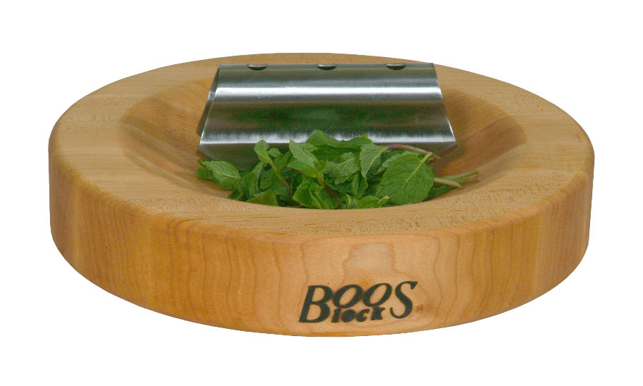 John Boos Reversible Maple Herb Cutting Board with Mezzaluna HB13-R-G-RK