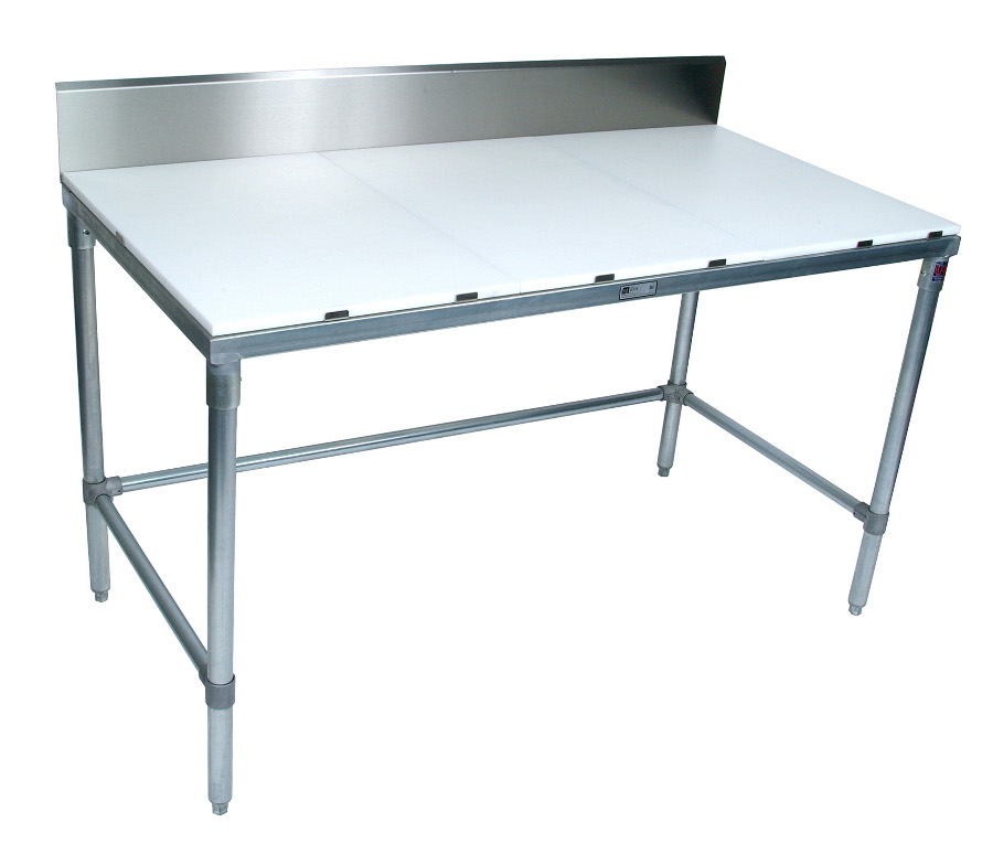 M-1 Boos Poly Top Work Table with Riser on Galvanized Base