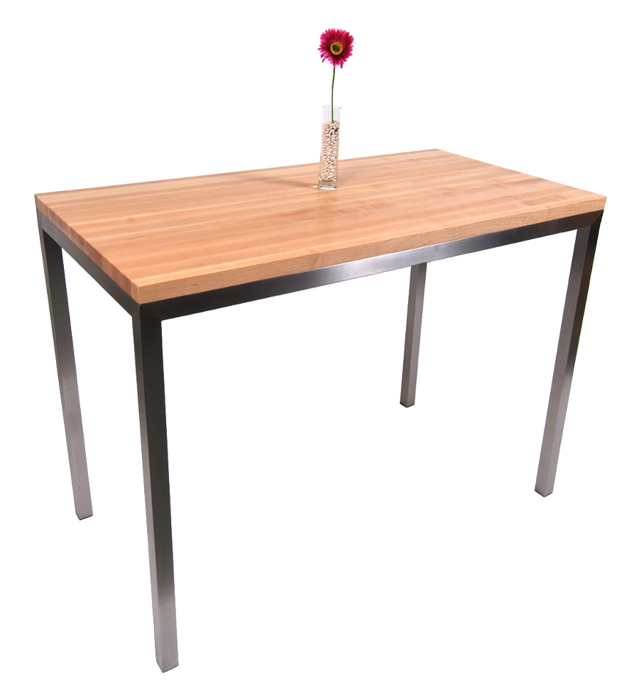 butcher block table kitchen prep tables Boos Maple Stainless Steel Metropolitan Center Table 48