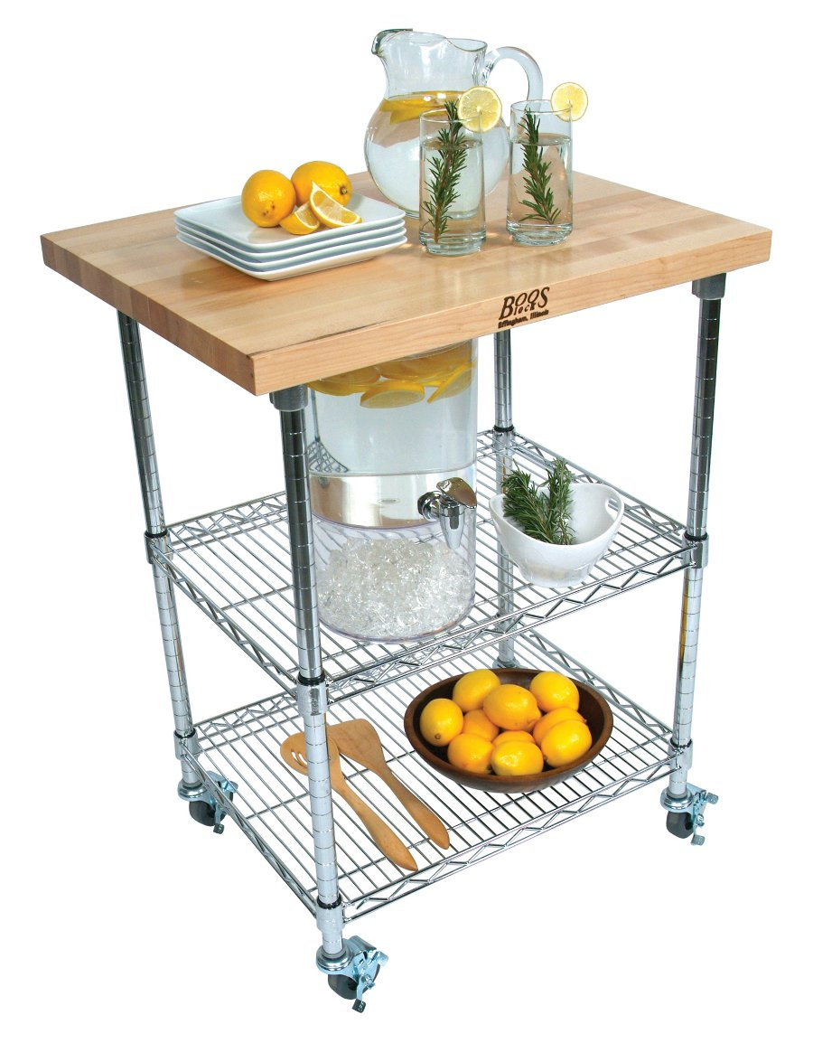 Boos Metropolitan Wire Cart   Maple, Cherry Or Walnut; Chrome Shelves