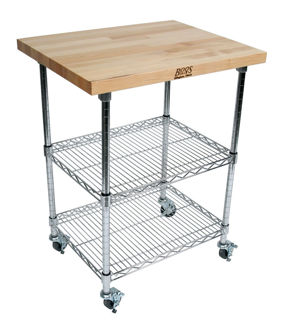 Boos Metropolitan Wire Cart - Maple, Cherry or Walnut; Chrome Shelves