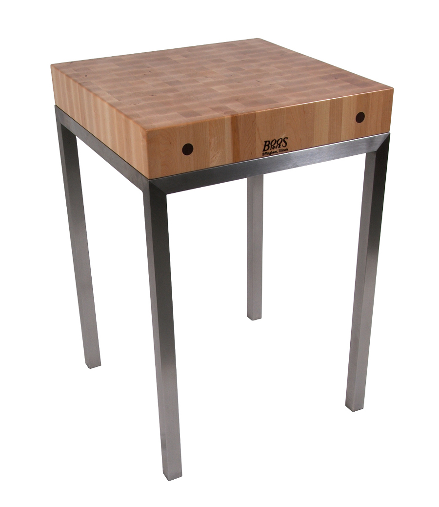 Boos Metro Station - 24x24x4 Butcher Block on Stainless Steel Frame