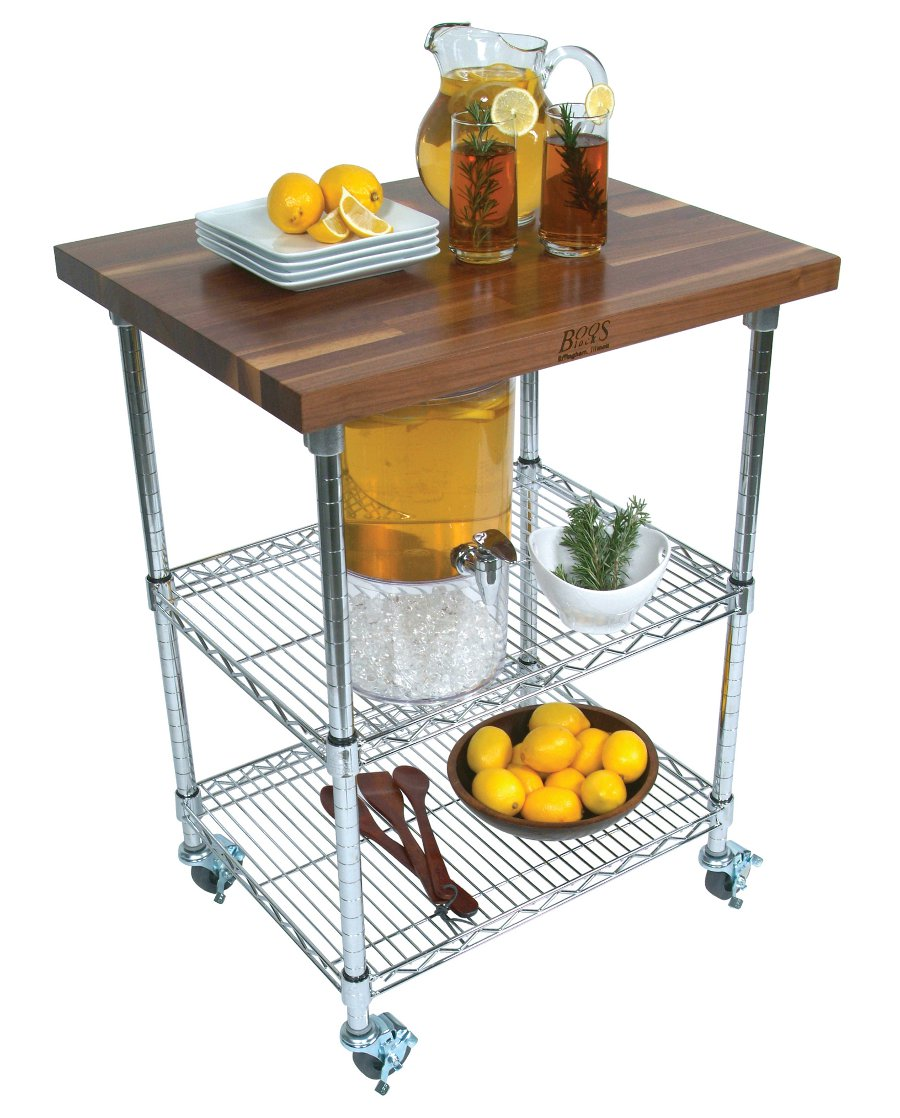 John Boos walnut & Chrome Kitchen Cart MET-CWC-1