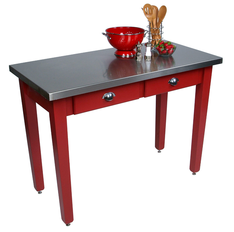 Boos Cucina Milano Table - Stainless Steel on Colorful Maple, 6 Sizes