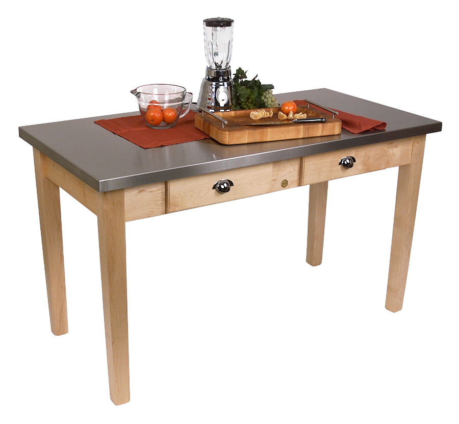 Boos Cucina Milano Steel Top Wood Kitchen Table Model MIL4824-C