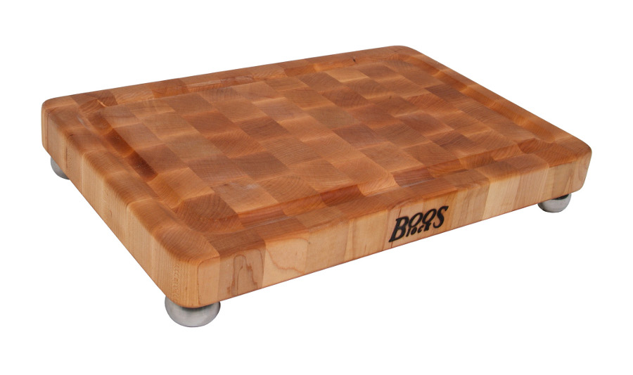 John Boos Signature Maple Cutting Board with Stainless Steel Bun Feet MPL1812175-SSF