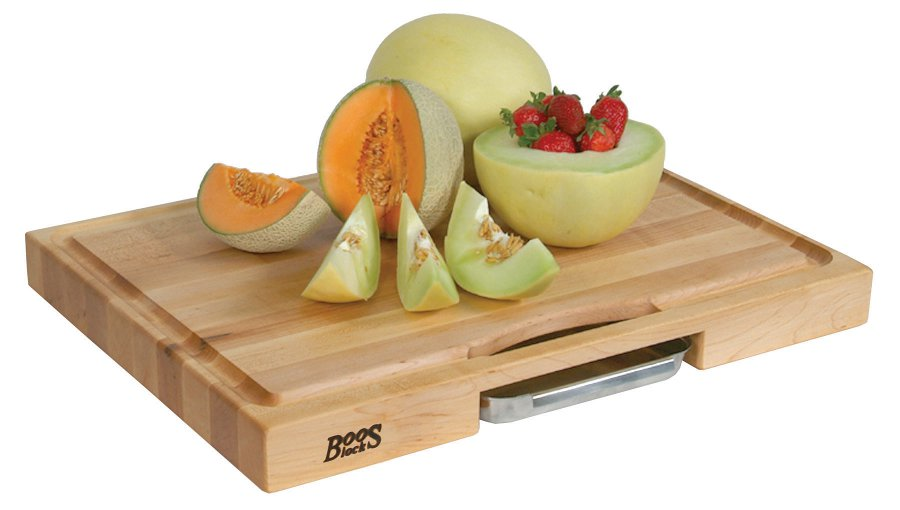 Boos Newton Prep Master III Cutting Board – 24x18, Reversible with Pan
