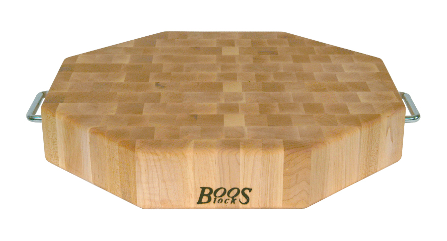 John Boos Octagonal Cutting Board OCB-18 with Stainless Steel Handles