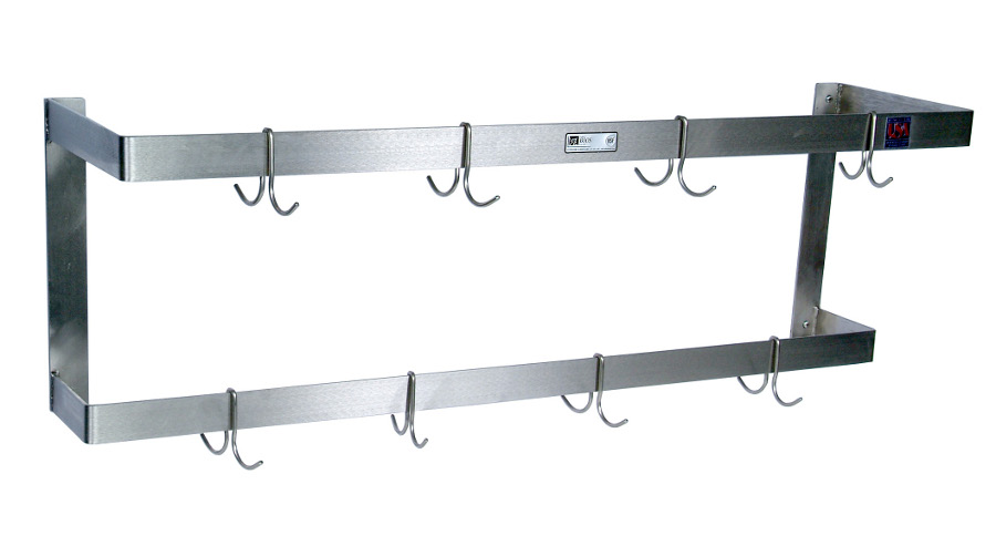John Boos Double-Bar, Stainless Steel Wall-Mounted Pot Rack