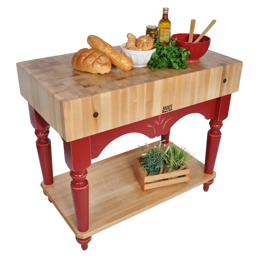 "Boos Maple Calais – 7"" Butcher Block, French Farm Legs, 42"