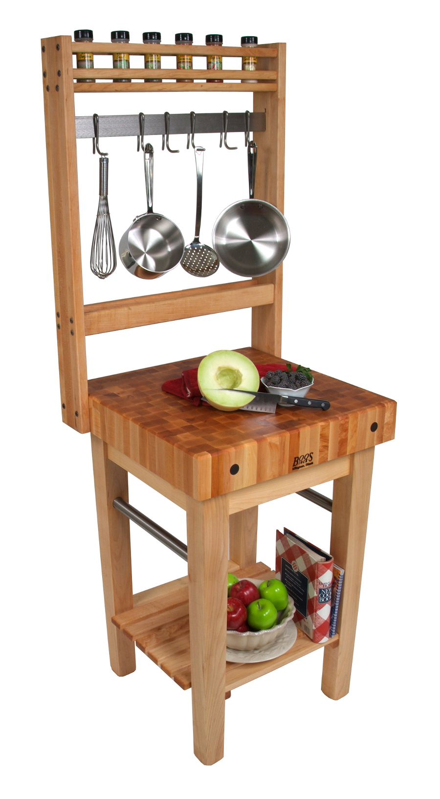 Boos Pro Prep Block W Pot Rack 4 Maple Butcher Sizes