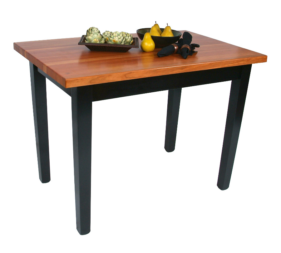 John Boos Le Classique Cherry Butcher Block Table w/ Black Legs - 7 Sizes