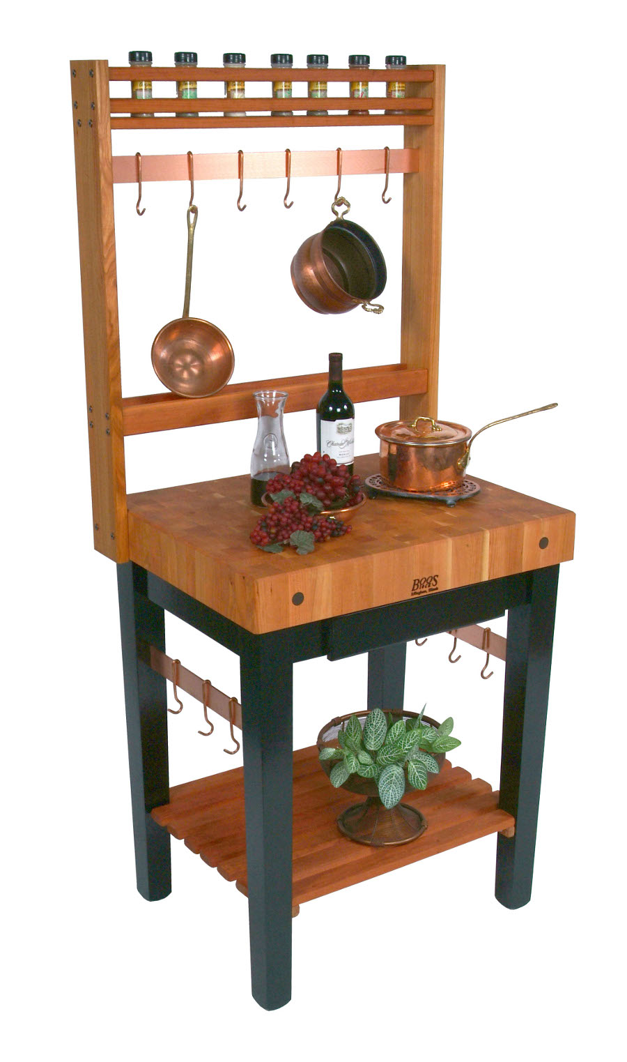 Boos Cherry Pro Prep Bloc 4 Thick Butcher Block Optional Pot Rack