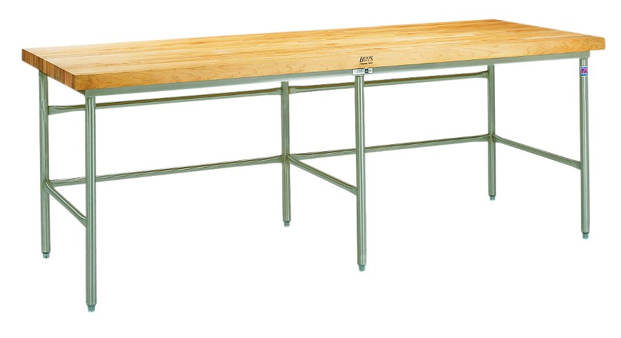 John Boos SBS Maple Top Baker's Table on Stainless Steel Frame with Bin Stops & Guides