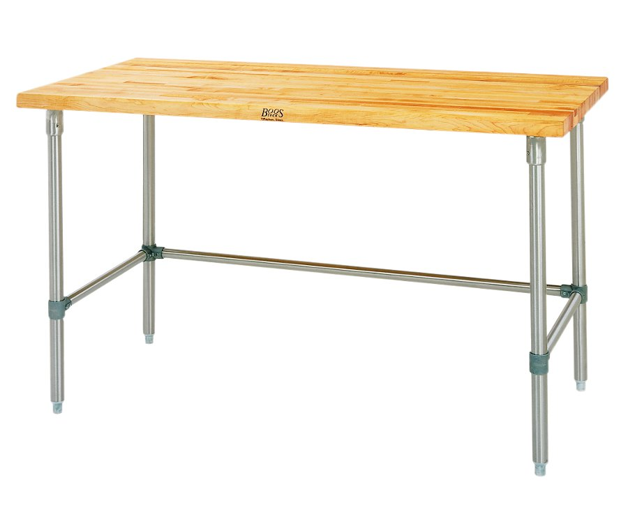 John Boos SNB Maple Top Work Table with Stainless Steel Base