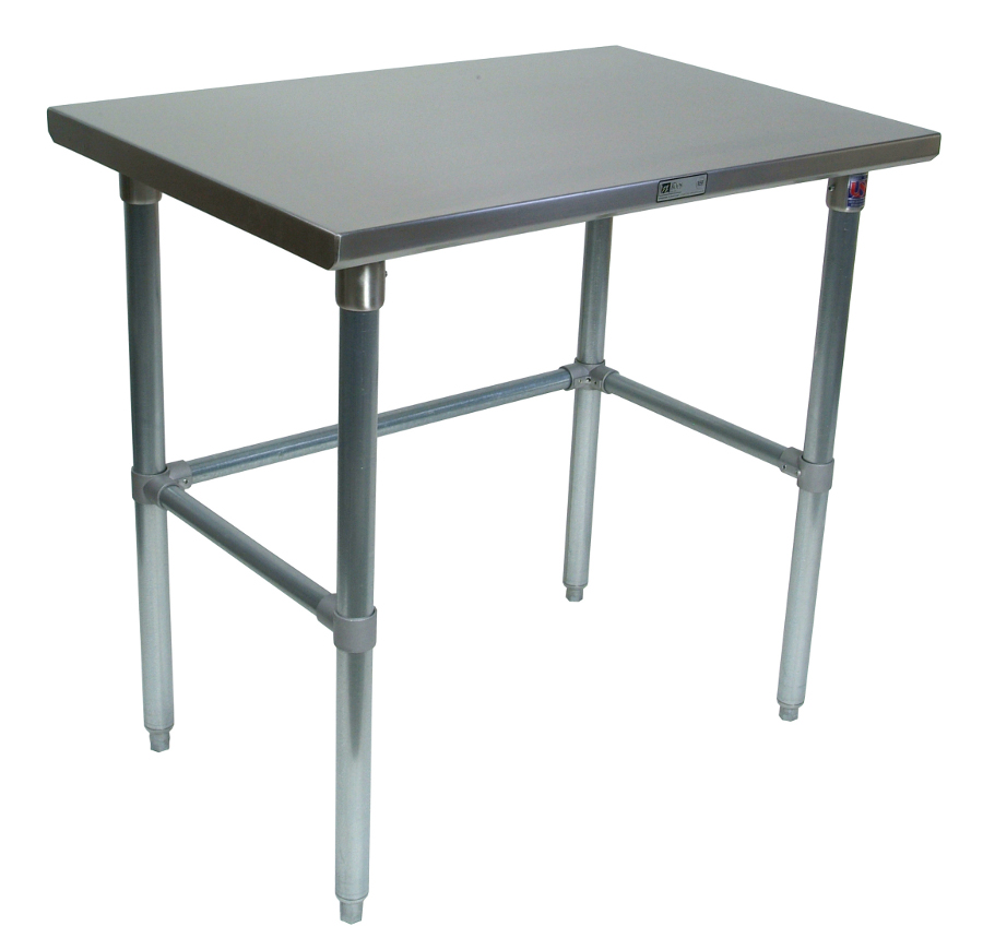 Boos Steel Work Table - 14-GA Stainless Top, Galvanized Base & Bracing