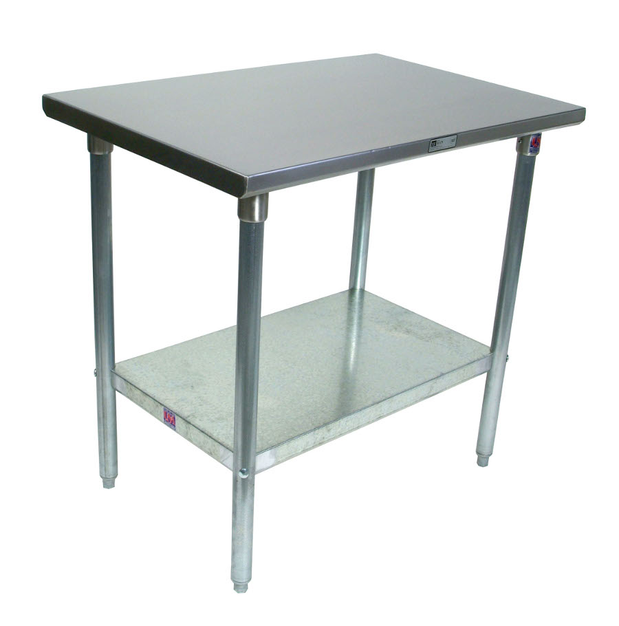 Model ST4-GSK - John Boos 14-Gauge Stainless Steel Work Table with Galvanized Base and Shelf