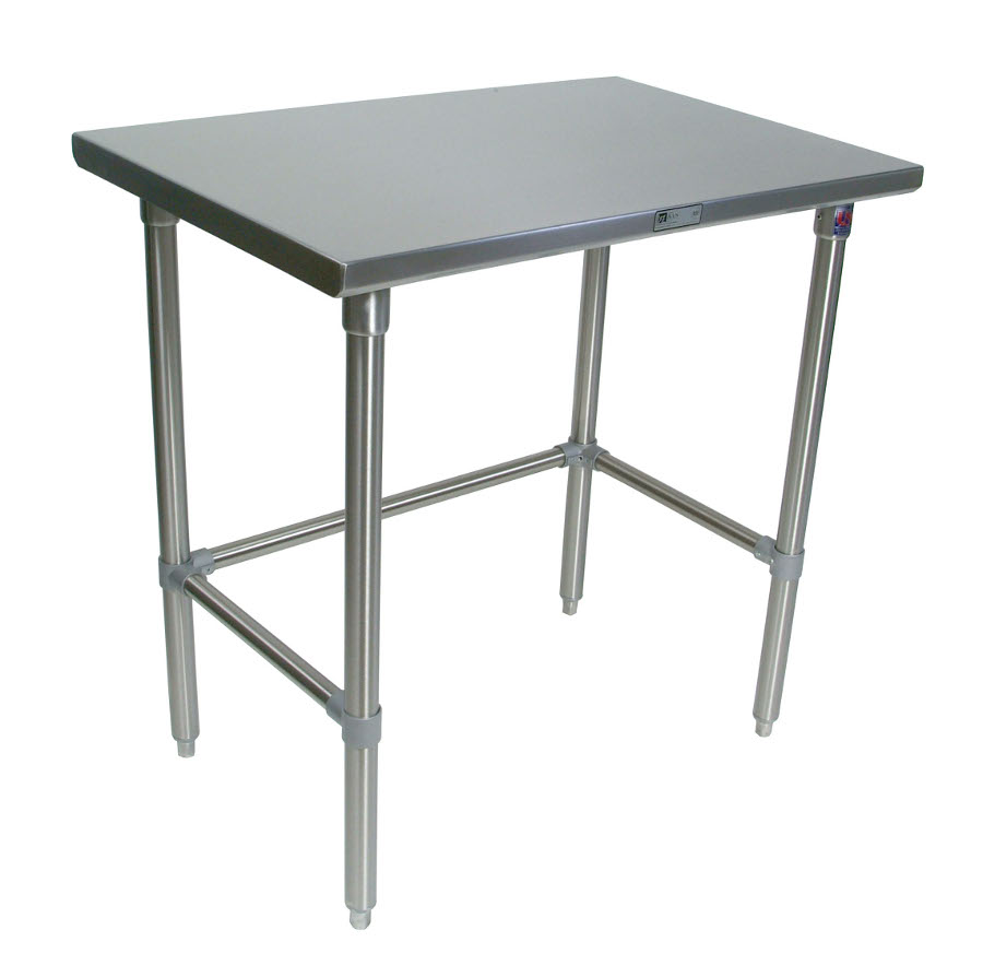 Boos All-Stainless Steel Work Table - 14-GA Top, 16-GA Legs, 18-GA Bracing