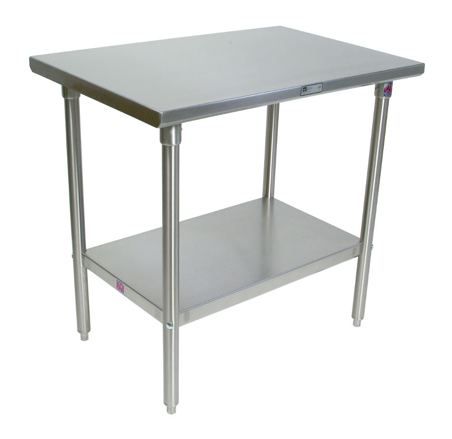 Boos Steel Work Table - 14-GA Stainless Top, Stainless Steel Base & Shelf