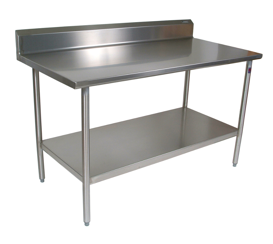 John boos stainless steel table with a riser - Steel kitchen tables ...