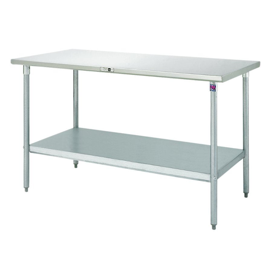 Boos Steel Work Table   16 GA Stainless Top, Galvanized Base U0026 Shelf