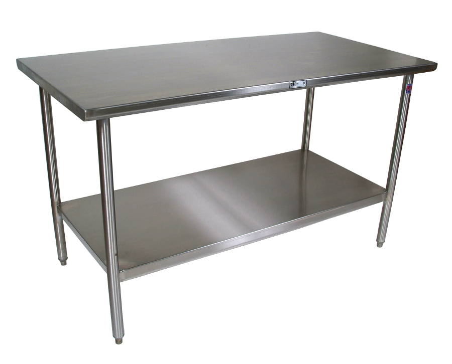 john boos 16ga stainless steel work table with shelf