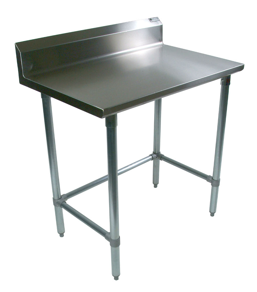 Boos Steel Work Table - 16-GA Stainless Steel Top & Riser, Galvanized Base