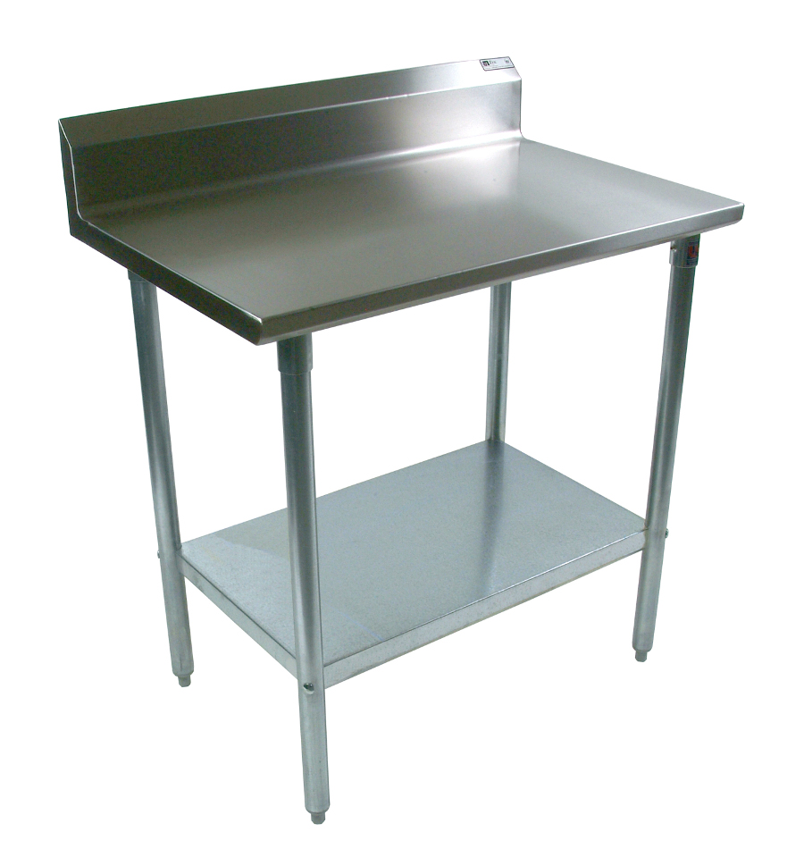 Boos Steel Table - 16-GA Stainless Top & Riser, Galvanized Base & Shelf