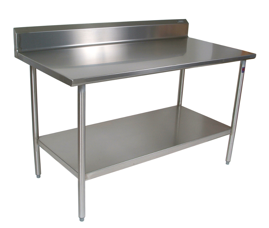 Boos Stainless Steel Work Table - 16-GA SS Top & Riser, 18-GA SS Shelf