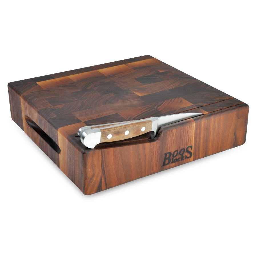 "Boos 3"" Thick Walnut Chopping Board with Knife Slots - 12"