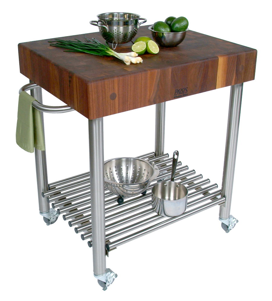 John Boos Cucina D\'Amico Walnut Butcher Block Cart