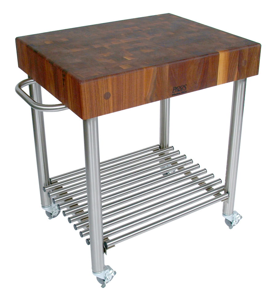 Walnut Butcher Block wine cart