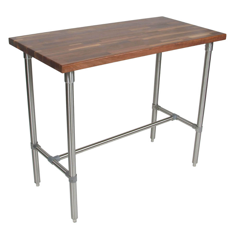 Kitchen work table - Boos Cucina Classico Walnut Stainless Steel Table 48