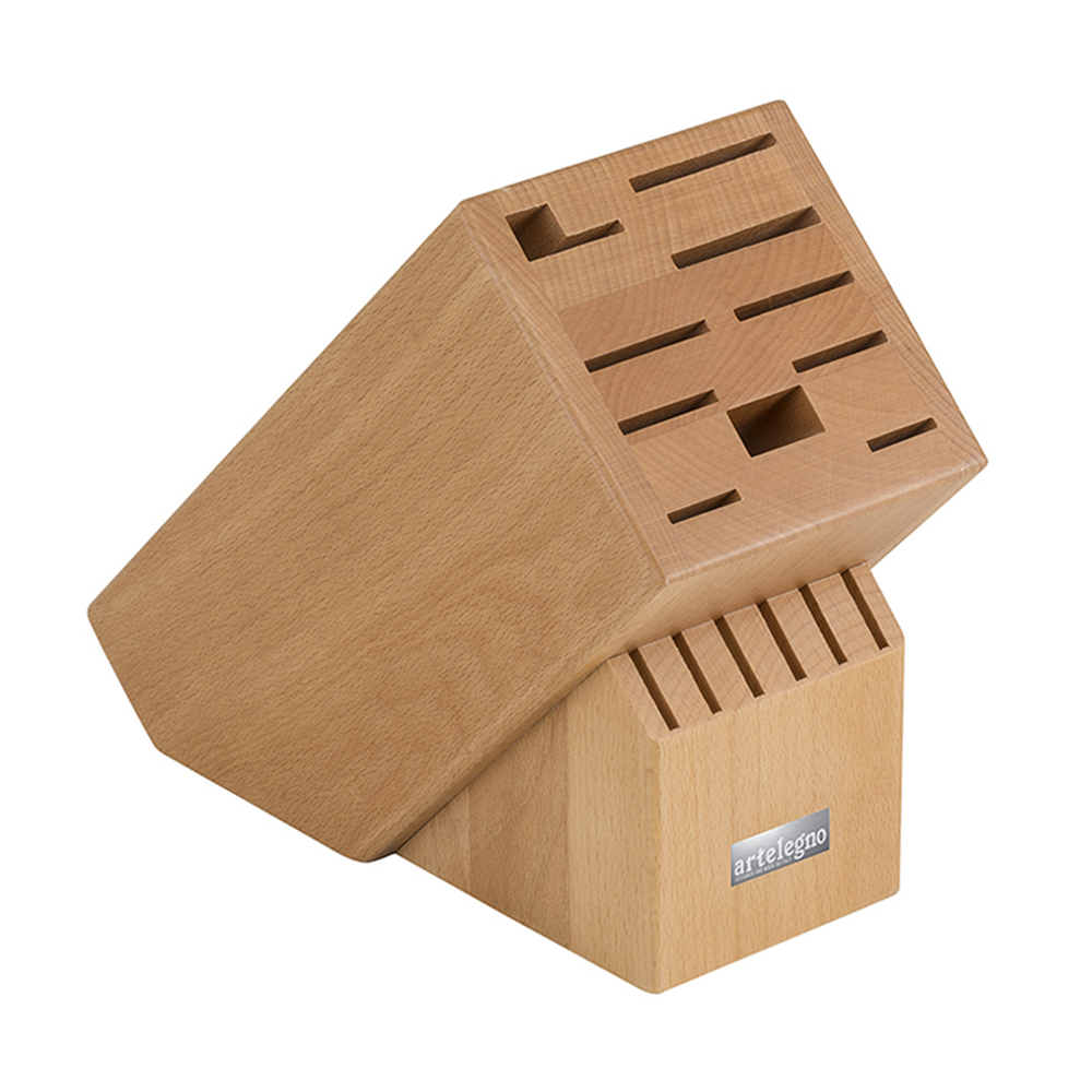Artelegno Classic 16-Slot Knife Block - Slots for a Knife Sharpener & Scissors