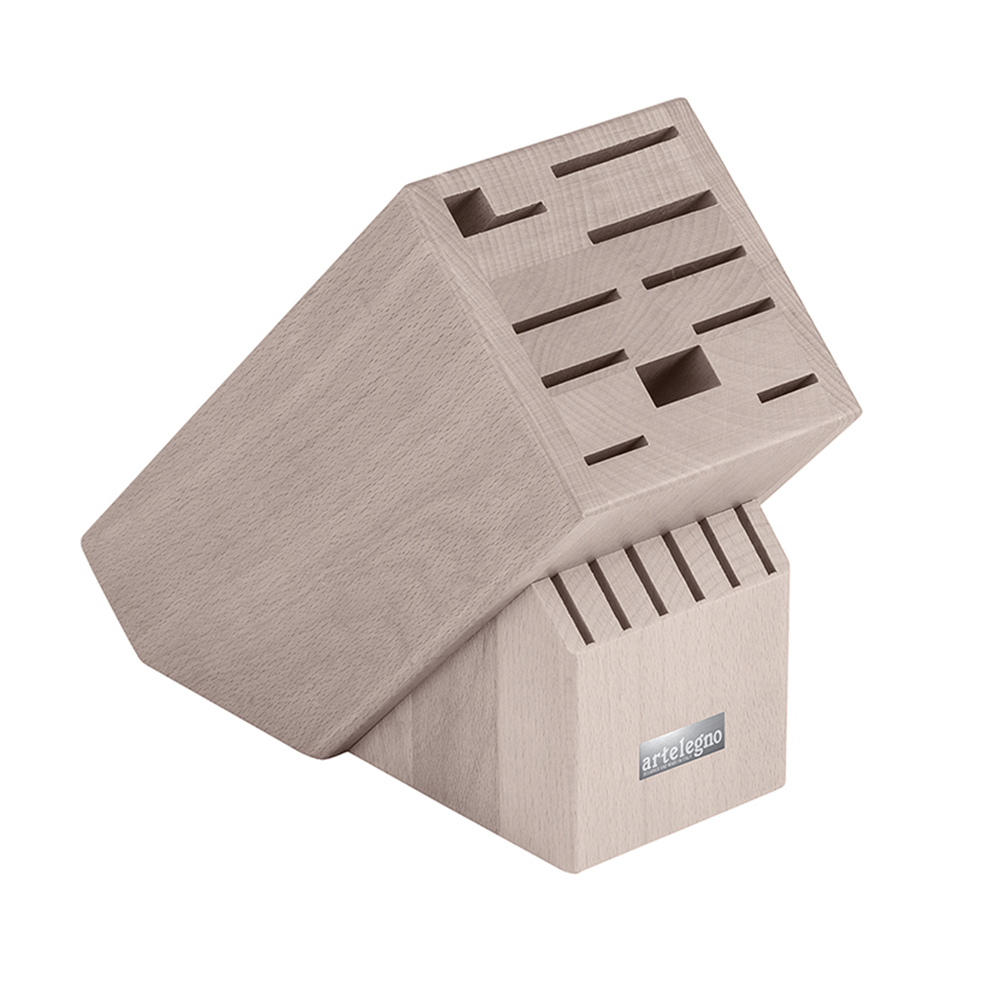 Artelegno Classic 16-Slot Knife Block - Slots for Knife Sharpener, Scissors