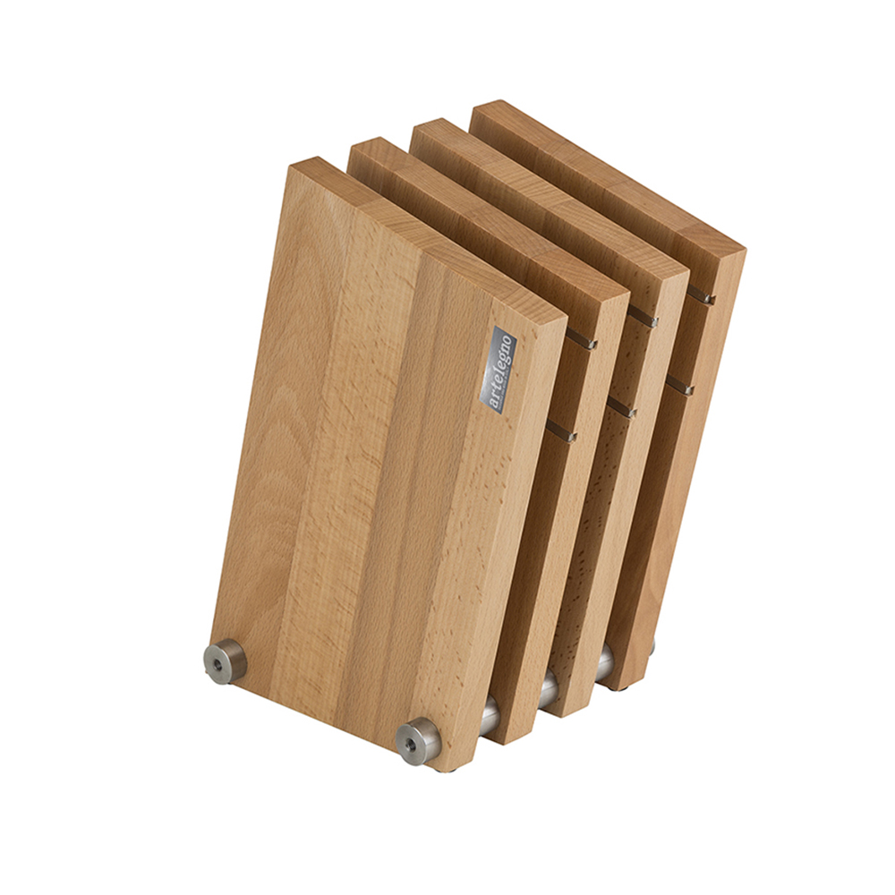 Artelegno Milano Classic 4-Panel Magnetic Knife Block - Natural or Whitewashed