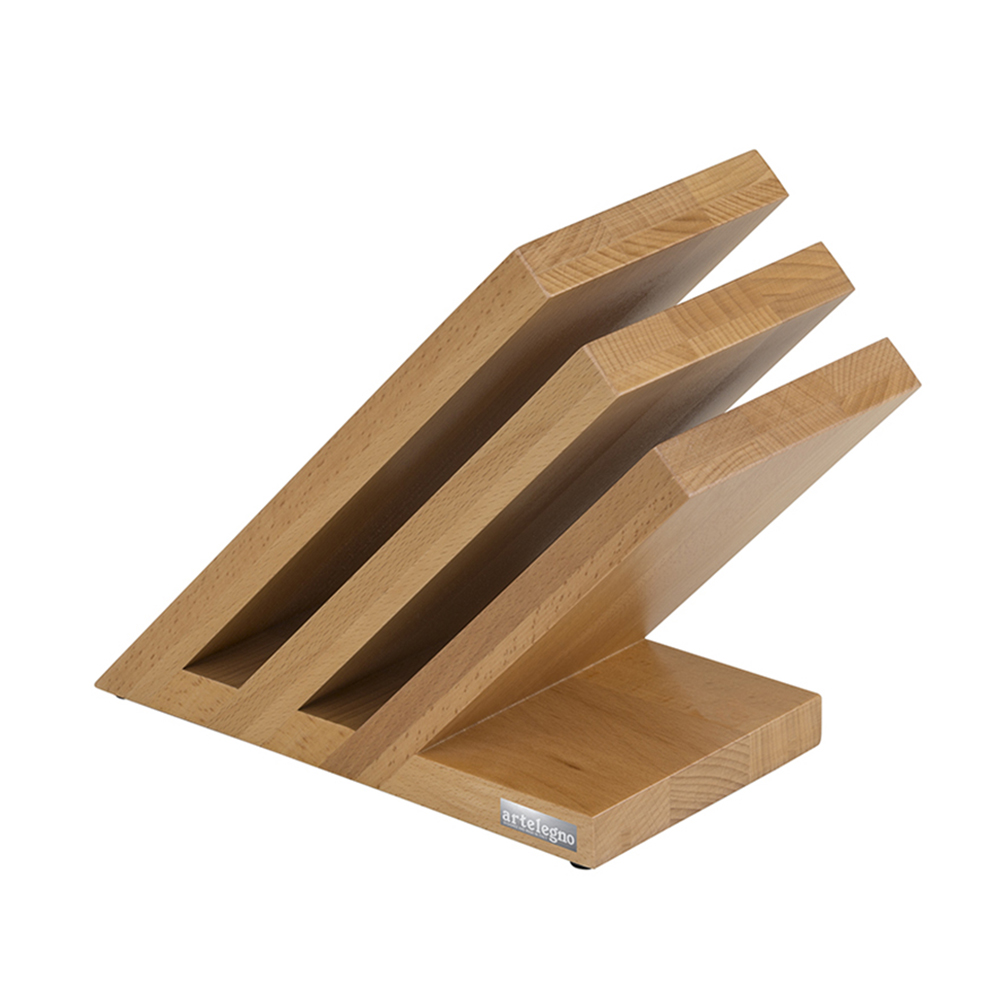 Artelegno 08 Beech Venezia Magnetic Knife Block Natural Lacquer