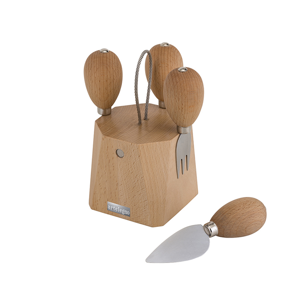 Artelegno Parma Magnetic Block Holds Cheese Fork & 3 Knives (Included)
