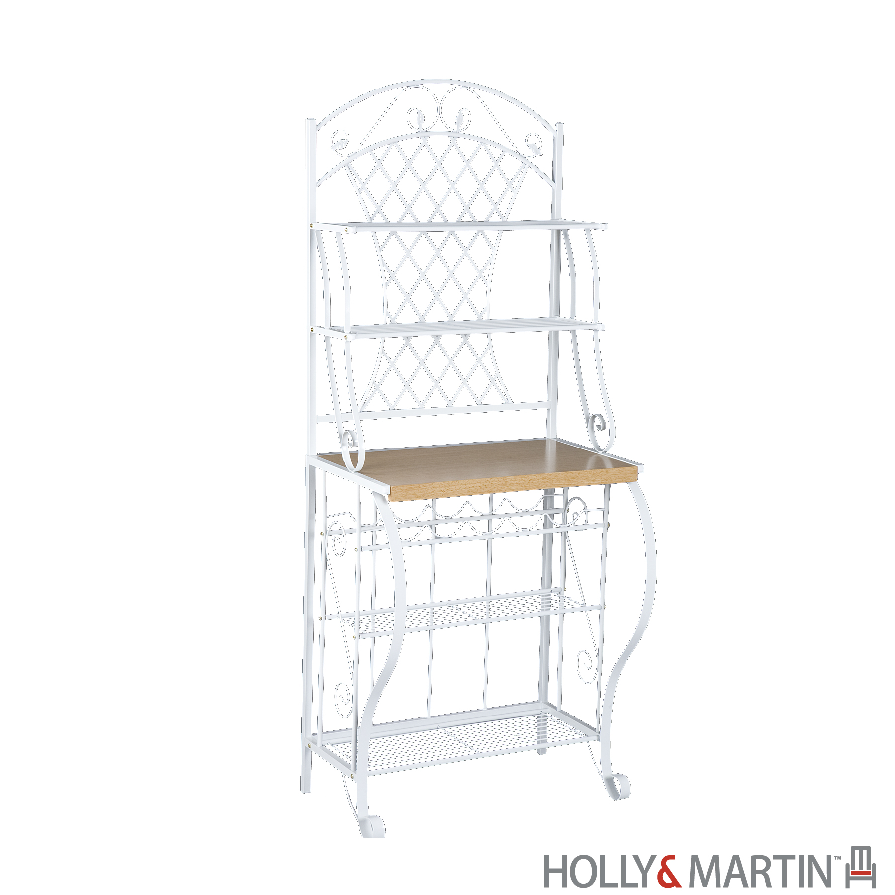 Holly & Martin's Atlanta Baker's Hutch with 5-Bottle Wine Rack - 68