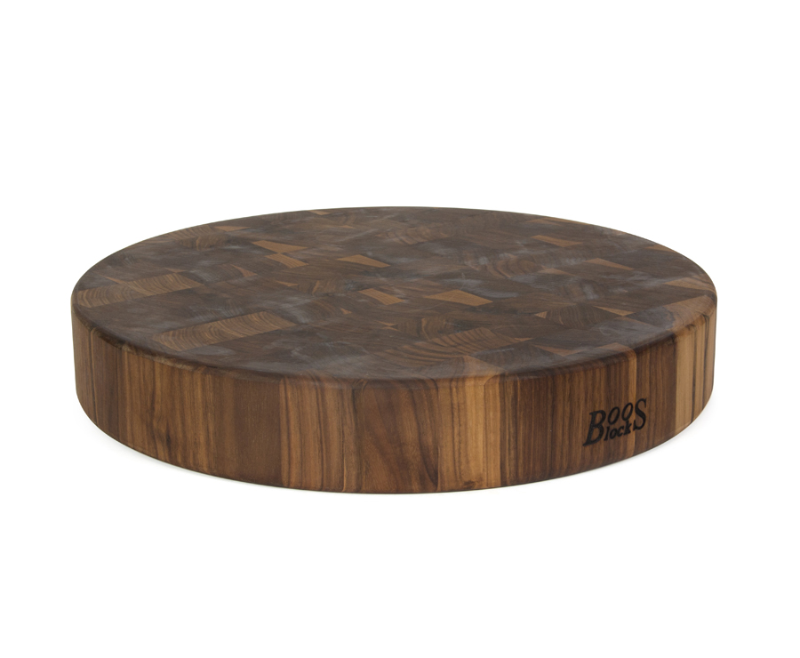 3 in. thick round end-grain walnut chopping block