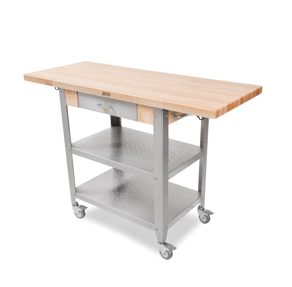John Boos Maple And Stainless Cucina Elegante Kitchen Cart: John Boos Cucina Elegante Wood-Steel Kitchen Cart