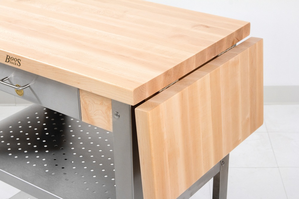Boos 30x20 Maple Cucina Elegante Cart -  Steel Shelves; No, 1 or 2 Leaves