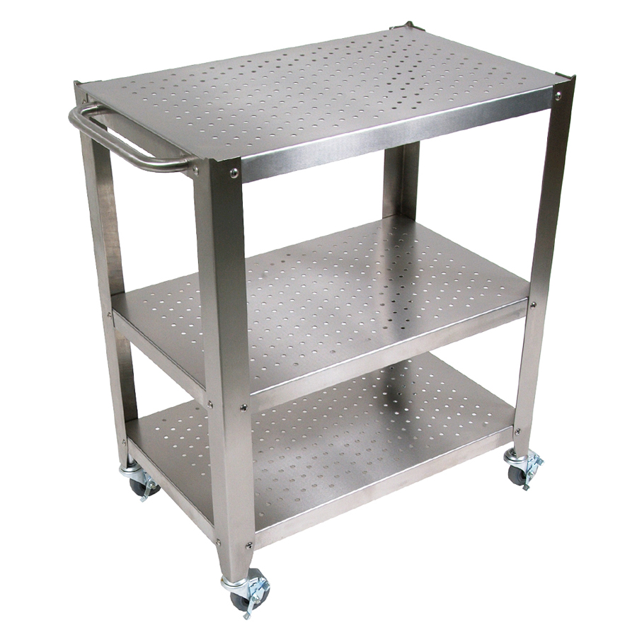 stainless steel shelves on Boos rolling cart